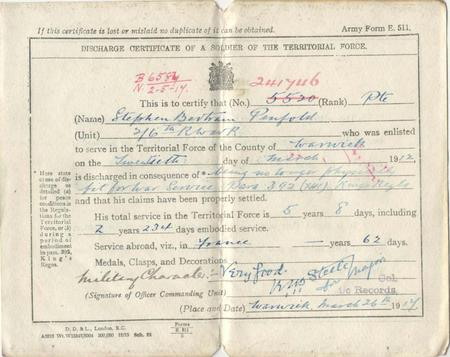 Army Discharge Certificate