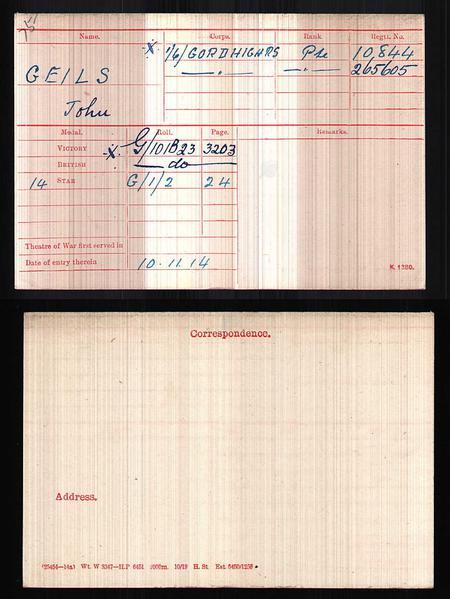 Medal index carrd of John Geils