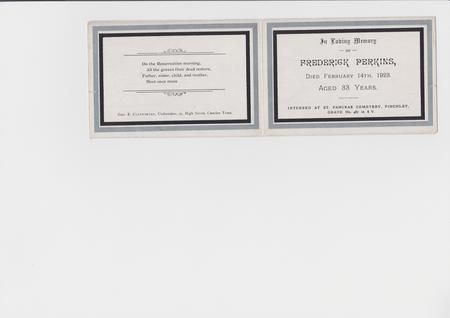 Fredeick Perkins funeral card
