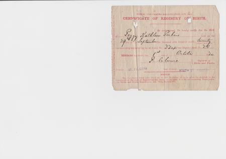Frederick's daughter's birth certificate.