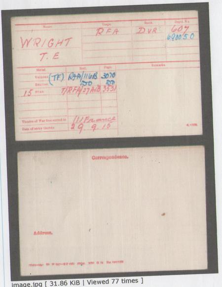 Copy of medal index card