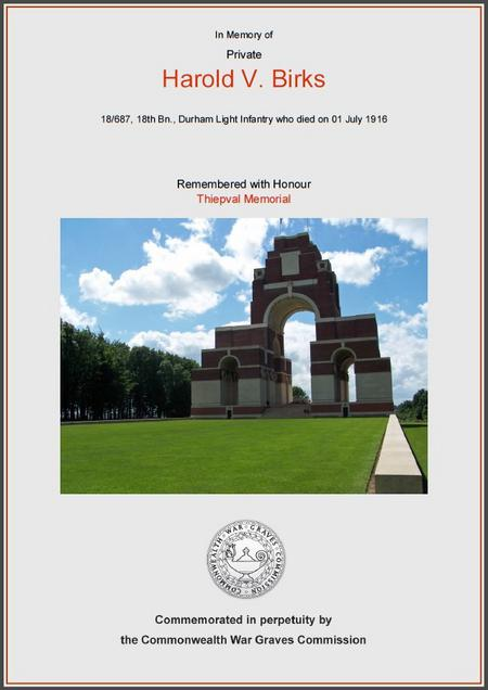 Harold V Birks CWGC cert