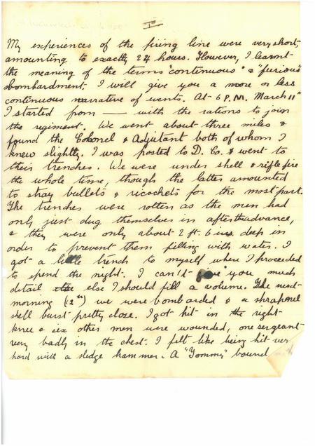 Neuve Chapelle Letter Page 1
