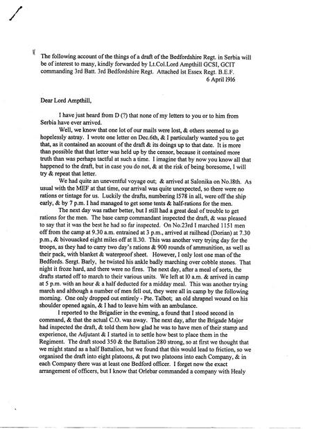 Lord Ampthill Letter Page 1