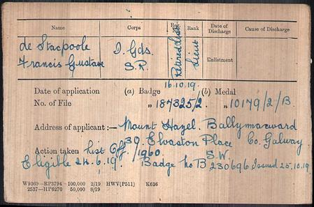Medal Card for Francis Gustave de Stacpoole