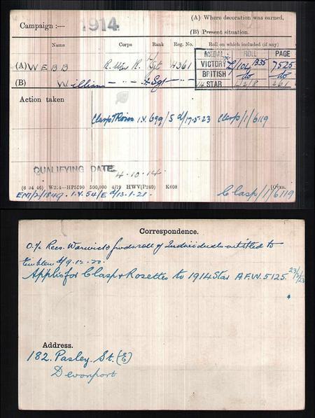 William Webb medal index card for First World War
