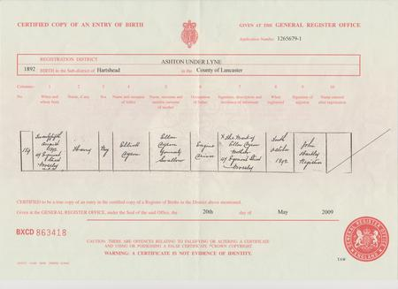 Harry's birth certificate