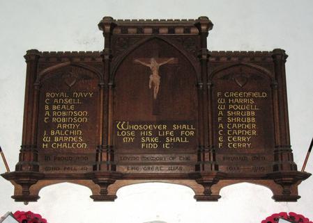Memorial inside Birdham Church - detail view