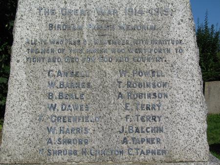 Birdham Parish WW1 Memorial Cross - detail view