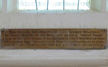 Memorial window - plaque beneath