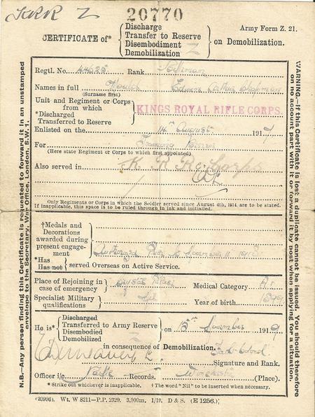 Certificate of demobilisation