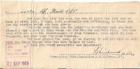 Letter on demobilization