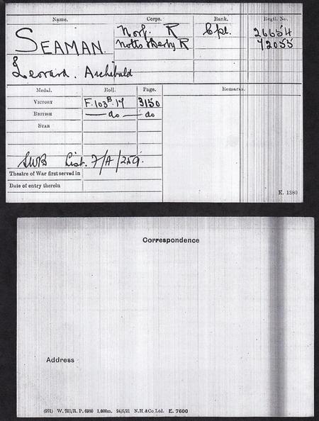 Archie Seaman Medal Roll Index Card