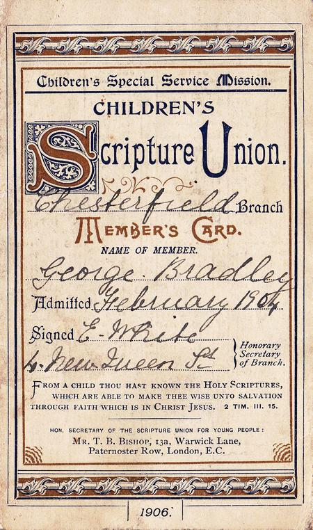 Scripture Union Membership card