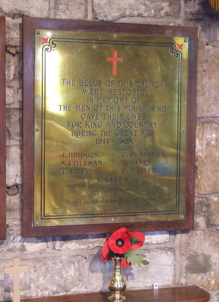 1914 - 1919 War Memorial Plaque, Farmborough, Bath