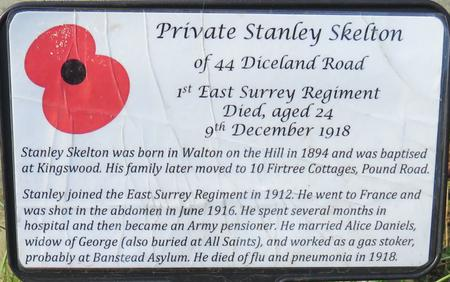 Information at Graveside 'Banstead Remembers'