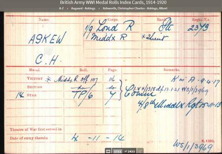 Medal Rolls Index Card C.H. Askew, 1/9 London Regt