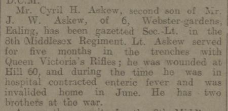 Second Lieut. C.H. Askew, Middlesex Regt.