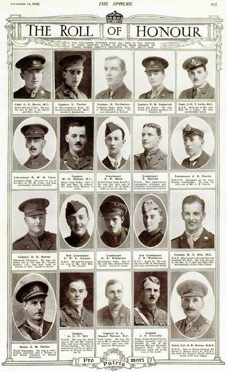Sphere 14/12/1918 Roll of Honour