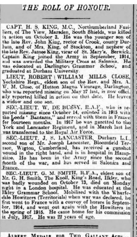 Roll of Honour -  the death of  Lt R W M Close
