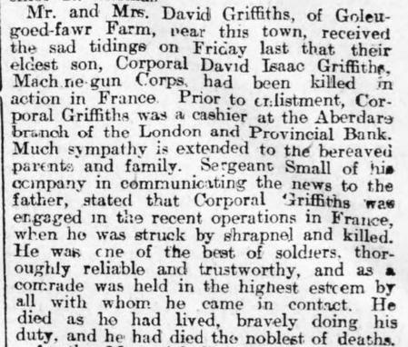 Report of David Isaac Griffiths' death