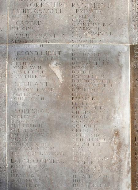 Soissons Memorial Lt R W M Close