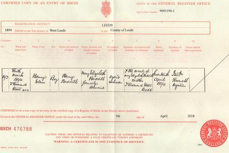 Henry Eteson Boddill Birth certificate