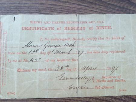 Henry George Ash birth Certificate
