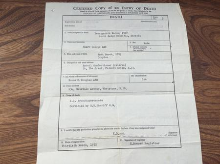 Henry George Ash Death Certificate