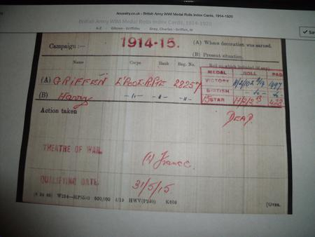 Private Harry Griffin Medal Roll Index .