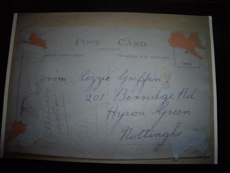 Post Card to inform of Harry,s death