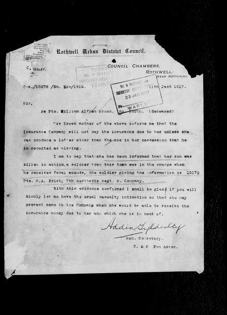 Letter linking William Brown with Harry Frisby