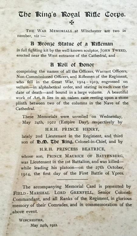 The King's Royal Rifle Corps War Memorials