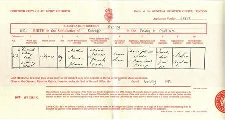 Birth Cert -Thomas Johnson 6578 Scots Guards