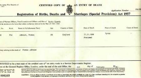 Death Certificate for Thomas Johnson