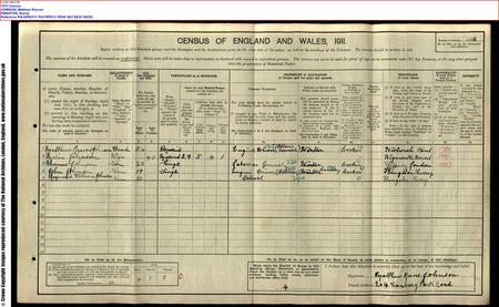 1911 Census showing Johnson household