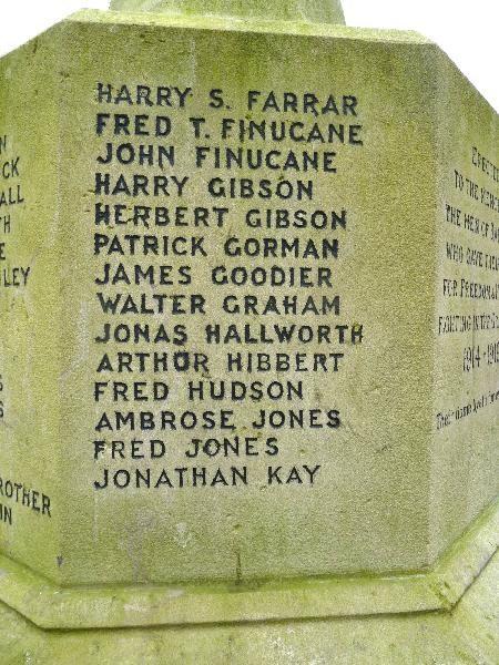 Panel on Bardsley War Memorial