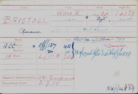 Clarence Bristoll Medal Card FRONT