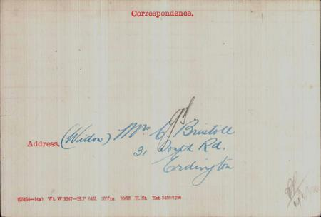 Clarence Bristoll Medal Card BACK