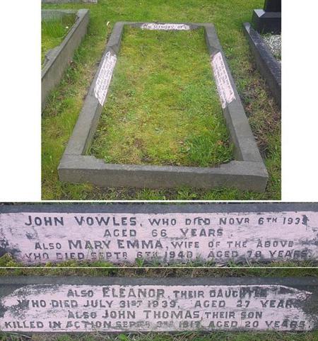 John Vowles war memorial inscription at Barnsley