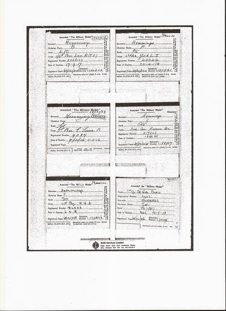 National Archives Medal Card - award of MM