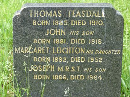 Gravestone of John Teasdale