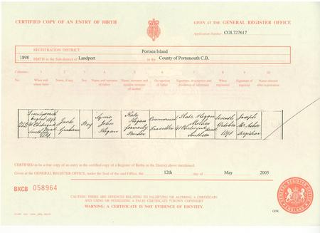 Jack Graham Hogan birth certificate