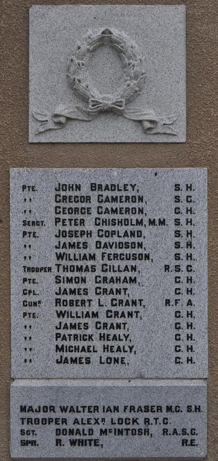 Kirkmichael Parish War Memorial, Tomintoul 3
