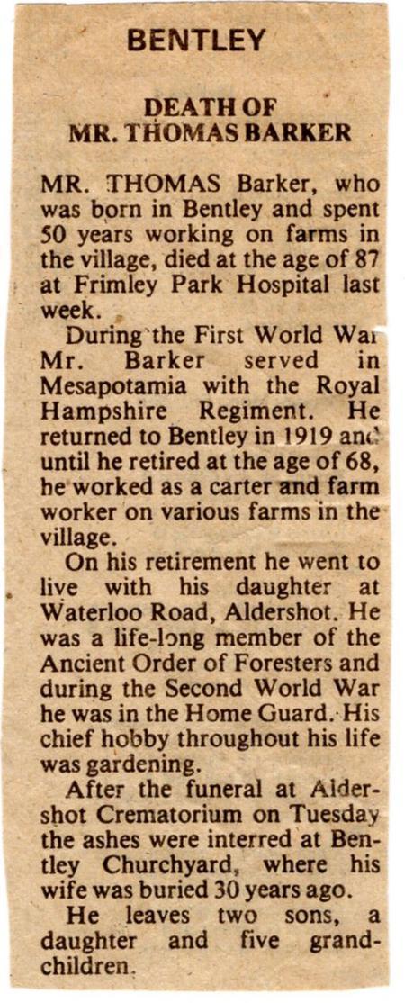 Thomas Barker Obituary