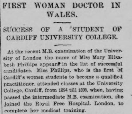 First woman doctor in Wales