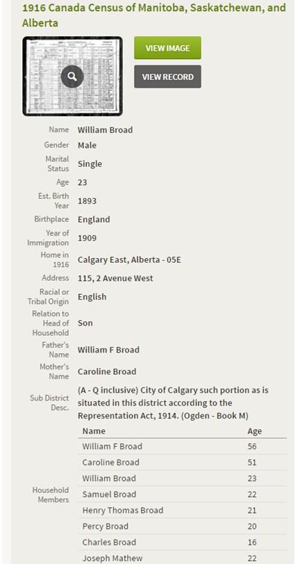 Summary of Canadian Census 1916