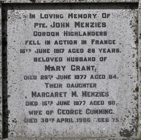 Family Grave of John Menzies - Close-Up