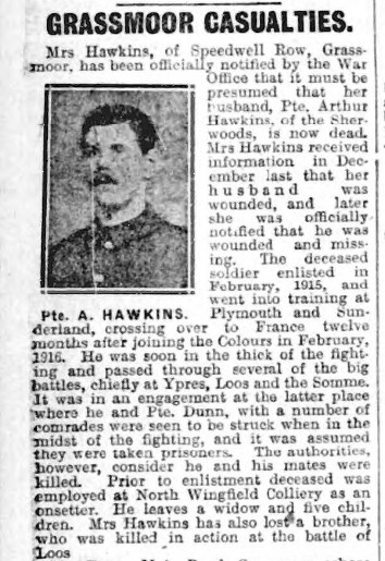 Killed in Action 15 October 1916
