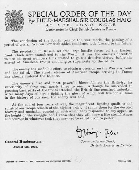 Special Order of the Day - 04/08/1918